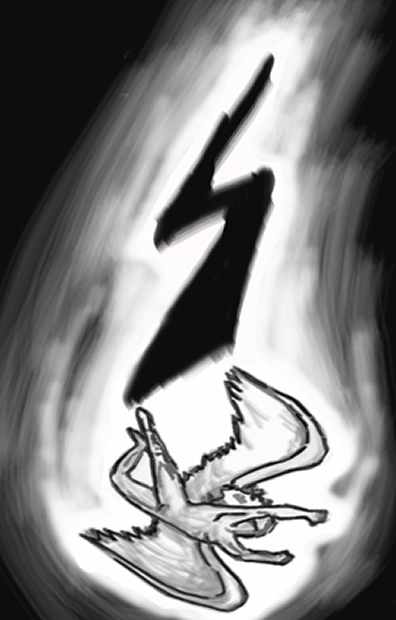 image of a falling angel with a black lightening bolt following behind it